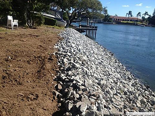 Revetment wall on Gold Coast canal